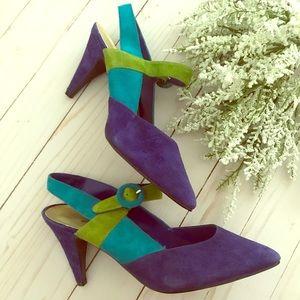 Vintage Faux Suede Color Block Heels